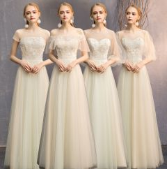 Discount Champagne See-through Bridesmaid Dresses 2019 A-Line / Princess Appliques Lace Floor-Length / Long Ruffle Backless Wedding Party Dresses