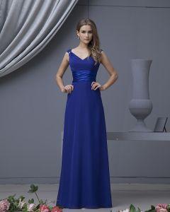 Designer Chiffon V-ausschnitt Bodenlangen Brautjungfernkleider