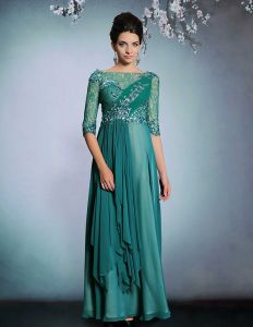 2015 Beading Applique Lace Long Evening Dress