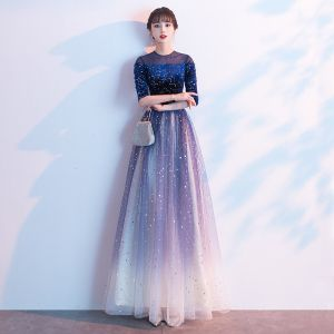 Fashion Sparkly Royal Blue Evening Dresses  2020 A-Line / Princess Scoop Neck Suede Lace Star Sequins 1/2 Sleeves Floor-Length / Long Formal Dresses