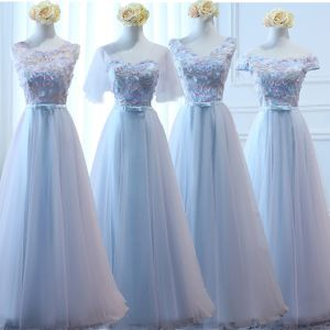 Chic / Beautiful Sky Blue Bridesmaid Dresses 2017 A-Line / Princess Bow Artificial Flowers Backless Floor-Length / Long Bridesmaid Wedding Party Dresses