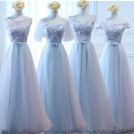 Chic / Beautiful Sky Blue Bridesmaid Dresses 2017 A-Line / Princess Bow Artificial Flowers Backless Floor-Length / Long Bridesmaid Wedding Party Dresses