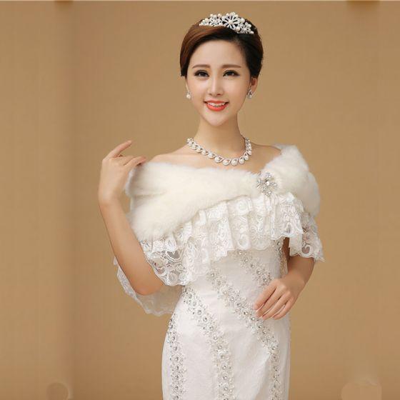 White Tulle Lace-up Cotton Wedding 2017 Shawls