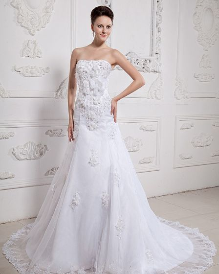 Beautiful Applique Beading Strapless Monarch Train Satin Organza A-Line Wedding Dress