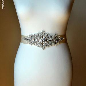 Luksus Elfenben Bryllup Bånd 2020 Satin Metall Håndlaget Beading Krystall Rhinestone Bryllups Aften Ball Tilbehør