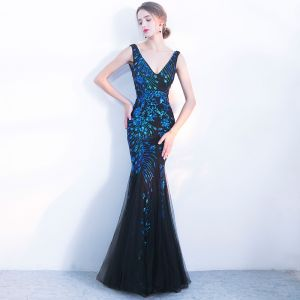 Chic / Beautiful Navy Blue Evening Dresses  2018 Trumpet / Mermaid Sequins V-Neck Backless Sleeveless Floor-Length / Long Formal Dresses