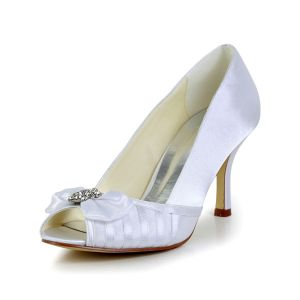 Classic White Bridal Shoes Peep Toe Stilettos Satin Pumps