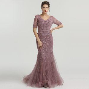 High-end Purple Organza See-through Evening Dresses  2020 Trumpet / Mermaid V-Neck Short Sleeve Handmade  Beading Feather Sweep Train Ruffle Formal Dresses