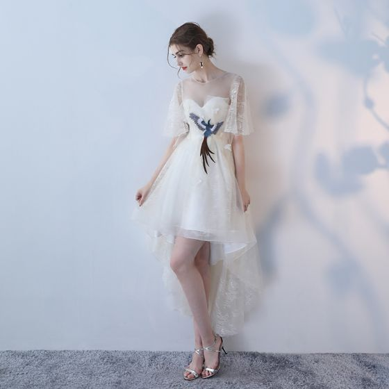 Elegant Grey A-Line / Princess Cocktail Dresses 2018 Lace Flower Scoop Neck Sleeveless Asymmetrical Formal Dresses