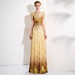 Sparkly Gold Sequins Evening Dresses  2017 A-Line / Princess Scoop Neck Short Sleeve Metal Sash Floor-Length / Long Pierced Formal Dresses