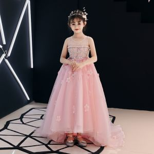 Chic / Beautiful Candy Pink See-through Flower Girl Dresses 2019 A-Line / Princess Scoop Neck Sleeveless Appliques Lace Flower Rhinestone Beading Pearl Court Train Ruffle Wedding Party Dresses