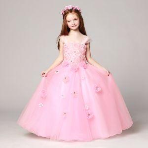 Chic / Belle Rougissant Rose Robe Ceremonie Fille 2017 Robe Boule épaules Sans Manches En Dentelle Appliques Fleur Faux Diamant Longue Volants Dos Nu Robe Pour Mariage