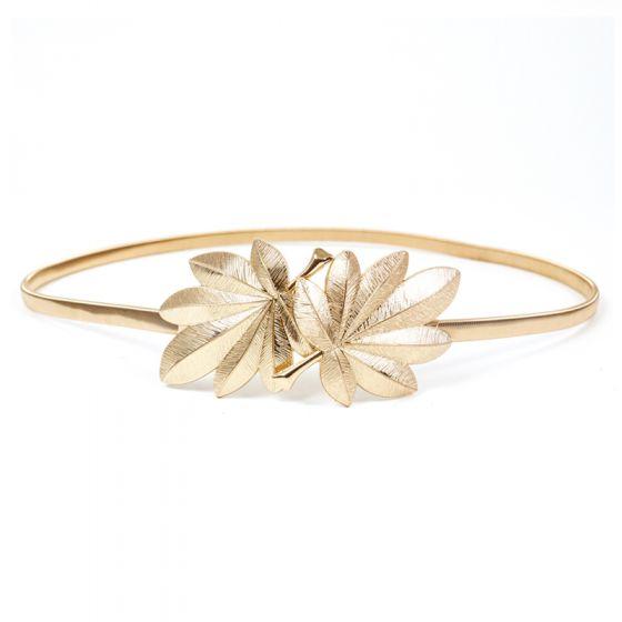 Modern / Fashion Gold Wedding Belt 2020 Metal Leaf Evening Party Prom Accessories