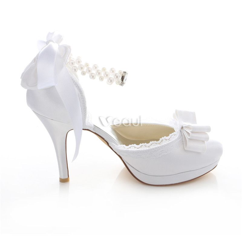 Beautiful White Bridal Shoes Stiletto Heels Satin Wedding Pumps 4 Inch High Heel With Ankle Strap