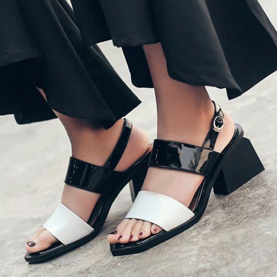 Schöne Schwarz Damenschuhe 2017 Leder Handgefertigt Mittel-Heels Thick Heels Peeptoes Sandaletten