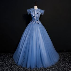 Vintage / Retro Ocean Blue Prom Dresses 2018 Ball Gown Lace Flower Appliques Bow Scoop Neck Backless Short Sleeve Floor-Length / Long Formal Dresses
