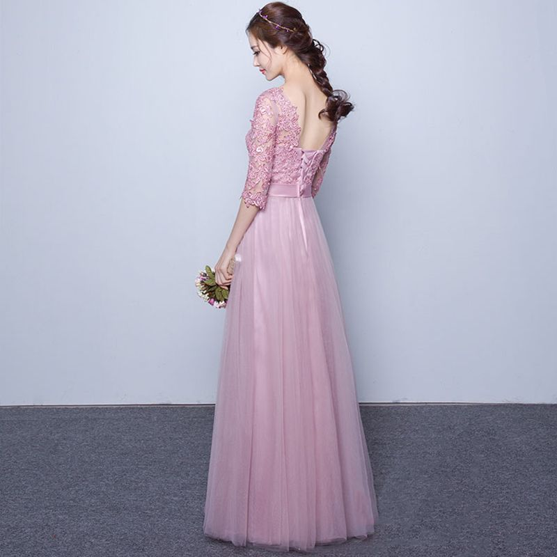 Chic / Beautiful 2017 3/4 Sleeve Candy Pink Red Crossed Straps Lace X-Strap Chiffon Lace U-Neck Cocktail Party Evening Party Summer Ball Gown Prom Dresses