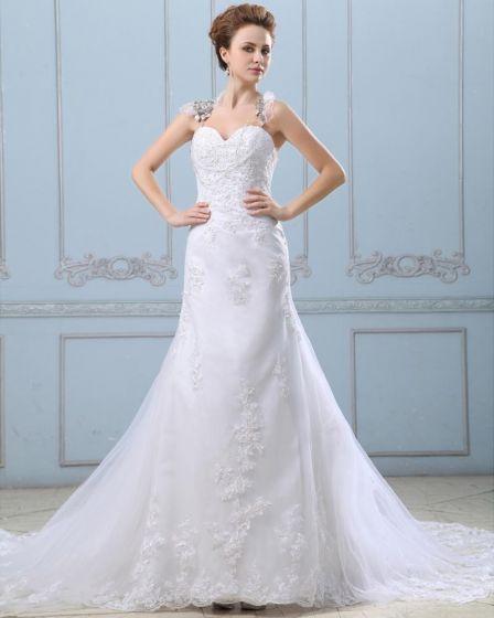 Applique Single Breasted Back Semi Cathedral Satin Organza Sheath Wedding Dress
