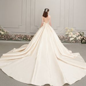 Elegant Champagne Satin Wedding Dresses 2019 A-Line / Princess Spaghetti Straps Sleeveless Backless Appliques Flower Beading Cathedral Train Ruffle