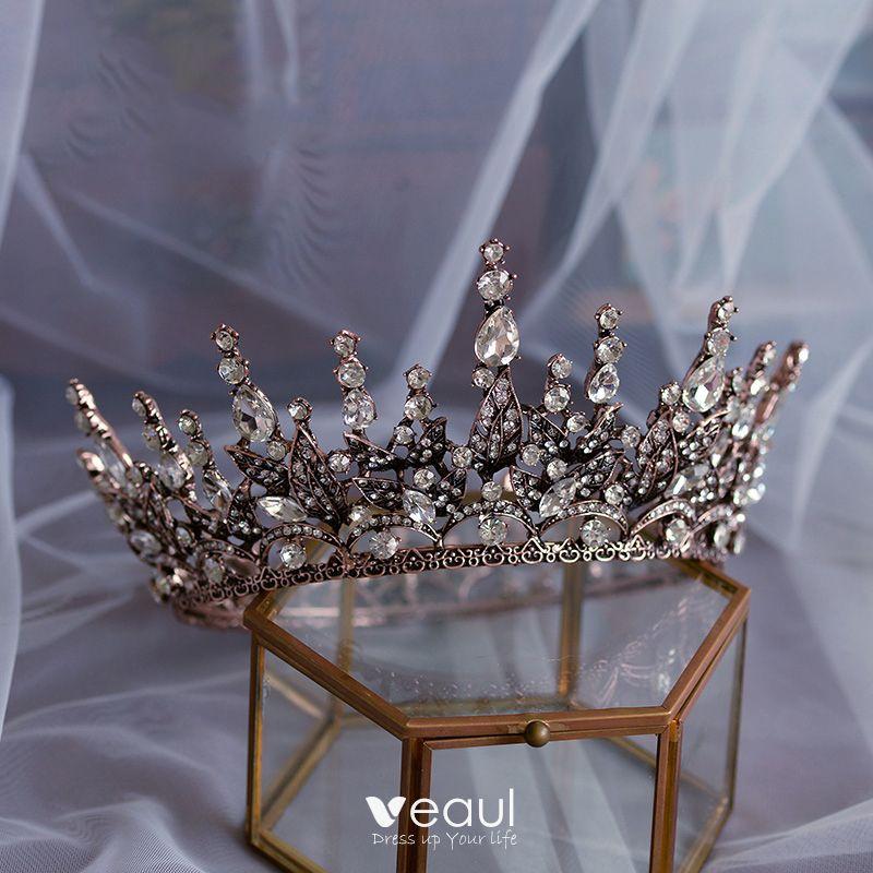 Vintage / Retro Baroque Brown Bridal Hair Accessories 2020 Metal Rhinestone Tiara Wedding Accessories