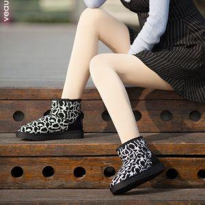 Mode Schneestiefel 2017 Schwarz Leopardenmuster Leder Ankle Boots Wildleder Freizeit Winter Flache Stiefel Damen