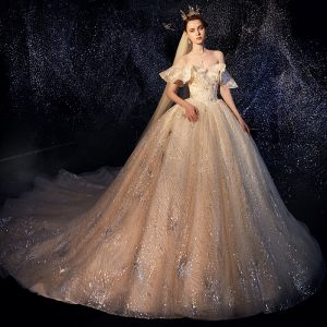 Glittrande Champagne Bröllopsklänningar 2019 Balklänning Av Axeln Korta ärm Halterneck Glittriga / Glitter Paljetter Cathedral Train Ruffle