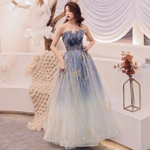 Charming Navy Blue Gradient-Color Prom Dresses 2019 A-Line / Princess Strapless Sleeveless Glitter Tulle Floor-Length / Long Ruffle Backless Formal Dresses