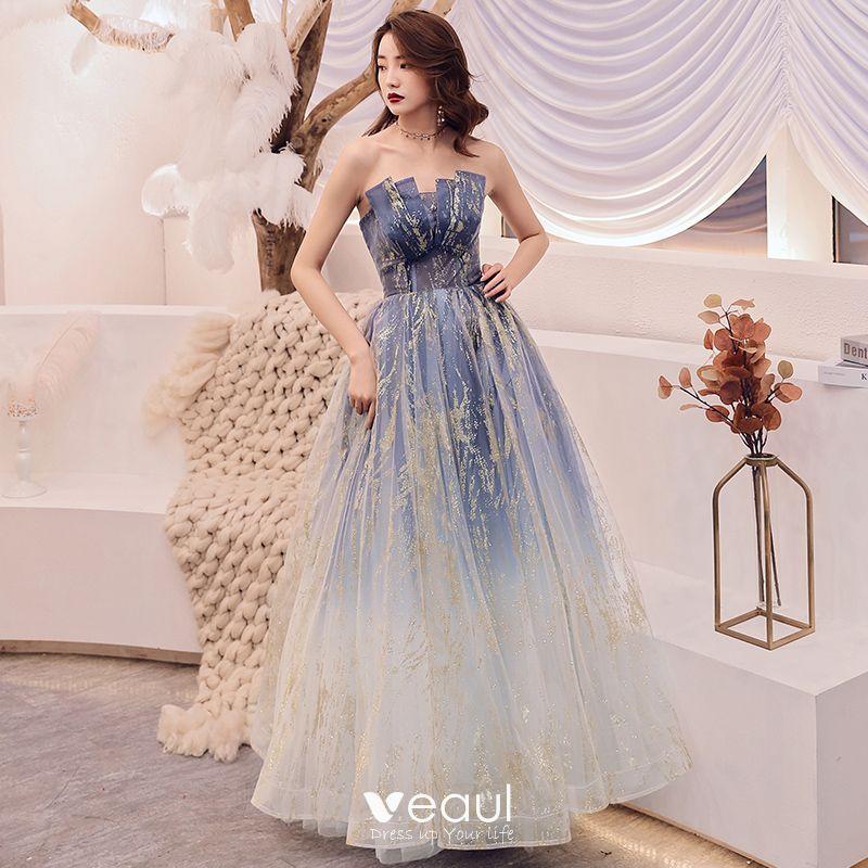 Navy Blue Gradient-Color Prom Dresses