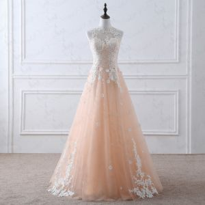Romantic Champagne See-through Wedding Dresses 2019 A-Line / Princess Scoop Neck Sleeveless Appliques Lace Beading Floor-Length / Long Ruffle