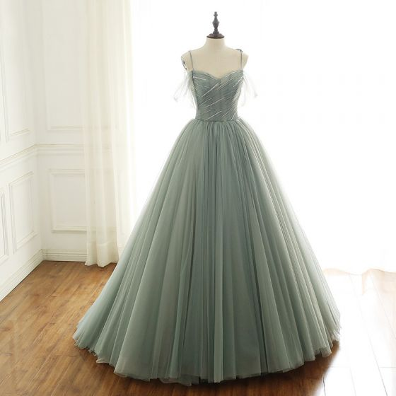 Luxury / Gorgeous Sage Green Prom Dresses 2019 A-Line / Princess Spaghetti Straps Short Sleeve Glitter Beading Sequins Sweep Train Backless Ruffle Formal Dresses