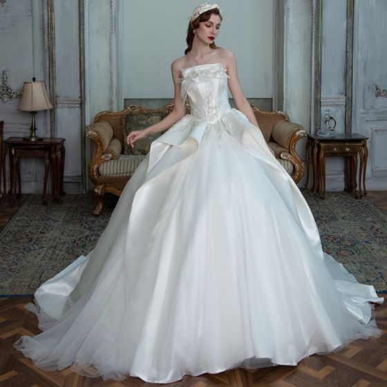 Luxury / Gorgeous White Satin Bridal Wedding Dresses 2021 Ball Gown Strapless Sleeveless Backless Beading Sequins Cathedral Train Ruffle