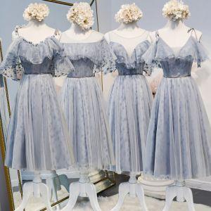 Schöne Silber Brautjungfernkleider 2020 A Linie Star Applikationen Spitze Perlenstickerei Stoffgürtel Kurze Rüschen Rückenfreies Kleider Für Hochzeit