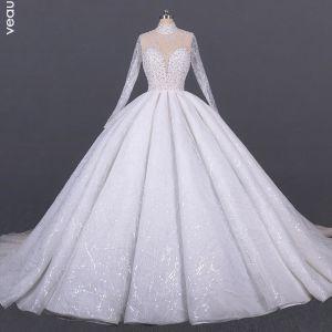 Luksusowe Białe ślubna Przezroczyste Suknie Ślubne 2020 Suknia Balowa Wysokiej Szyi Długie Rękawy Wykonany Ręcznie Frezowanie Cekiny Trenem Katedra Wzburzyć