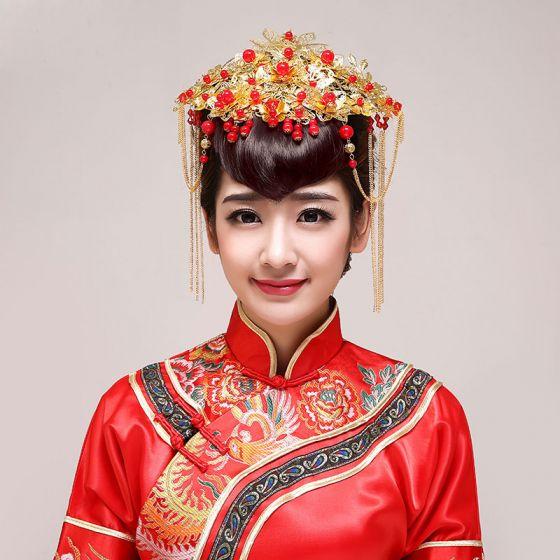 Chinese Stijl Bruids Hoofdtooi / Goudkleurige Kop Bloem / Bruiloft Haar Accessoires / Bruiloft Sieraden