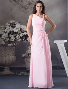 2015 Charming Pleated Shoulder Ruffle And Beading Strap Handmade Flowers Evening Dress Pink Prom Dress