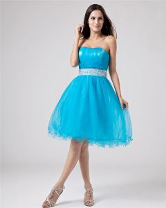 Organza Beading Ruffle Knee Length Graduation Dress