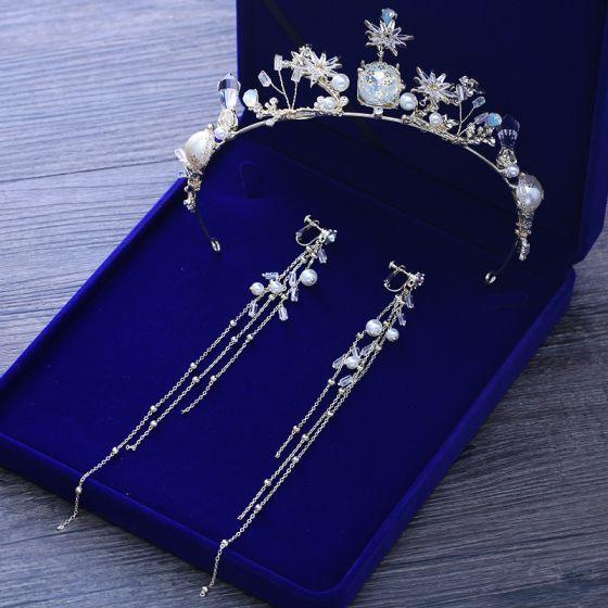Proste / Simple Srebrny Metal Biżuteria Ślubna 2018 Kryształ Perła Rhinestone Tiara Kutas Kolczyki Ślub Akcesoria