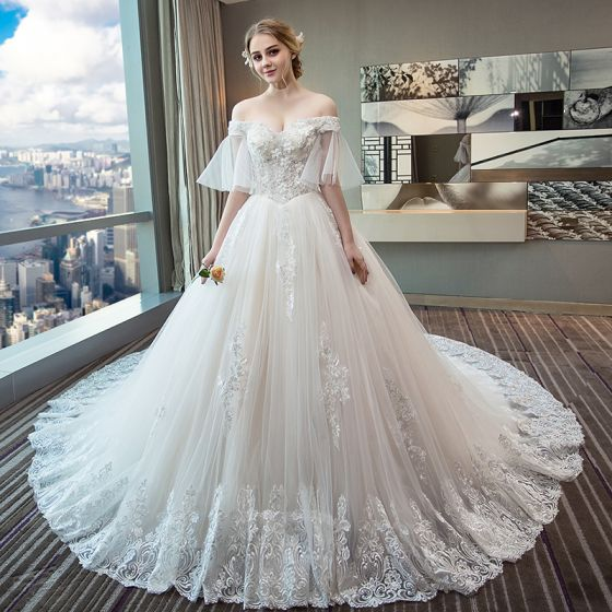 Chic Beautiful Ivory Wedding Dresses 2018 Ball Gown Off The Shoulder 1 2 Sleeves Liques Lace