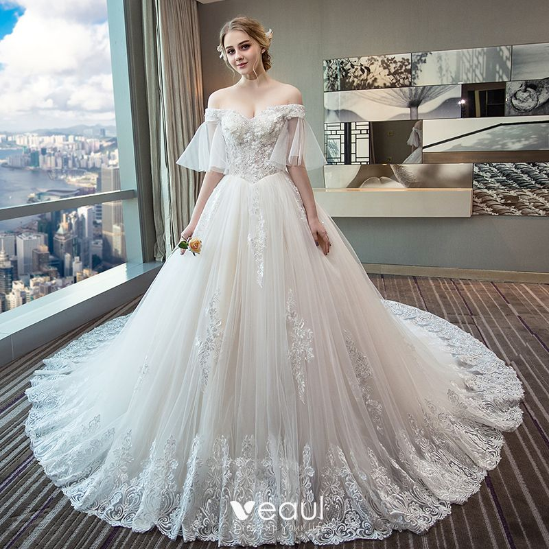 Chic Beautiful Ivory Wedding Dresses 2018 Ball Gown Off The