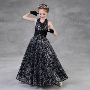 Sparkly Black Sequins Flower Girl Dresses 2018 A-Line / Princess Halter Sleeveless Floor-Length / Long Ruffle Backless Wedding Party Dresses