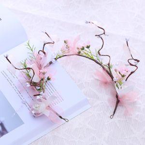 Bloemenfee Candy Roze Haaraccessoires 2018 Tule Bloem Parel Accessoires