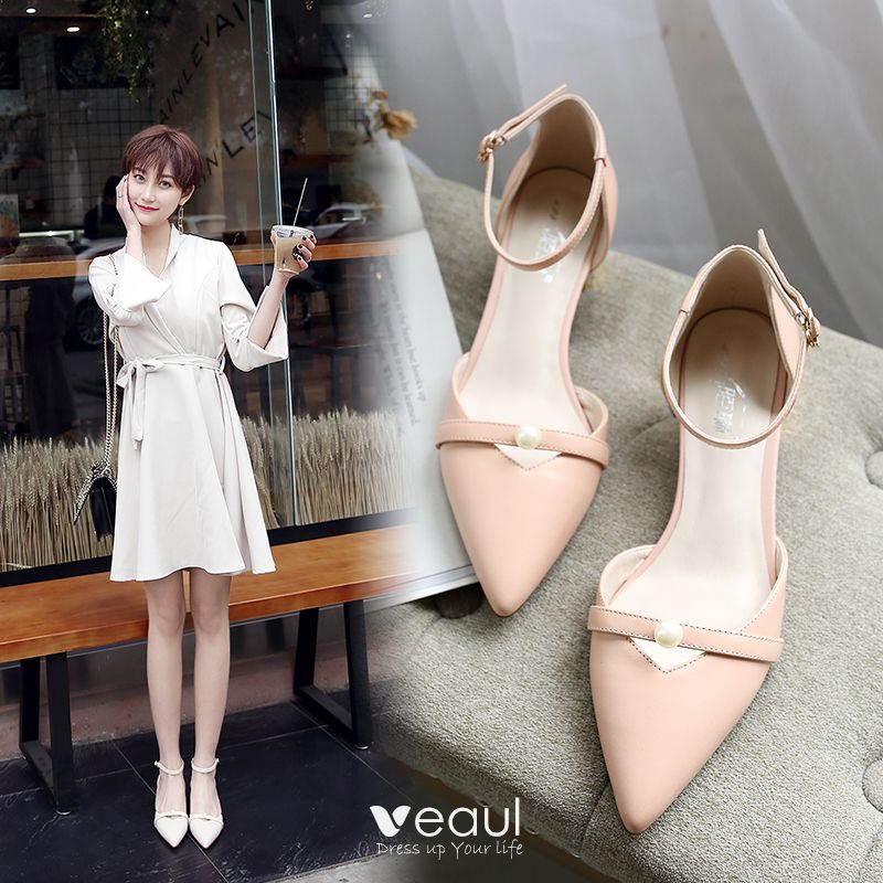 Chic / Beautiful Leather Womens Shoes 2017 Pearl Outdoor / Garden Mid Heels Pointed Toe Sandals