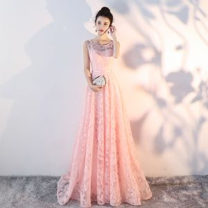 Bling Bling Pearl Pink See-through Lace Evening Dresses  2018 A-Line / Princess Scoop Neck Sleeveless Sash Court Train Ruffle Backless Formal Dresses
