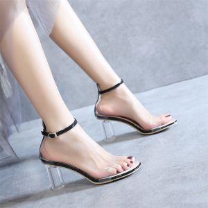 Sexy Transparent Noire Cocktail Sandales Femme 2020 Cuir Verni Bride Cheville 8 cm Talons Épais Peep Toes / Bout Ouvert Sandales