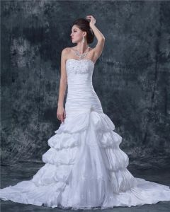 Beading Applique Ruffles Taffeta Lace Satin Sleeveless Strapless Cathedral Train Ball Gown Wedding Dress