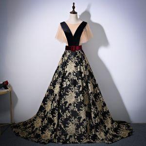 Élégant Noire Doré Robe De Bal 2017 Princesse Encolure Dégagée Manches Courtes Impression Fleur Satin Ceinture Chapel Train Dos Nu Robe De Ceremonie