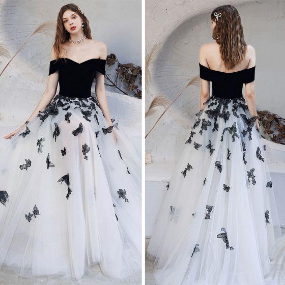 Hada de las flores Negro Blanco Bailando Vestidos de gala 2020 A-Line / Princess Fuera Del Hombro Manga Corta mariposa Apliques Con Encaje Largos Ruffle Sin Espalda Vestidos Formales