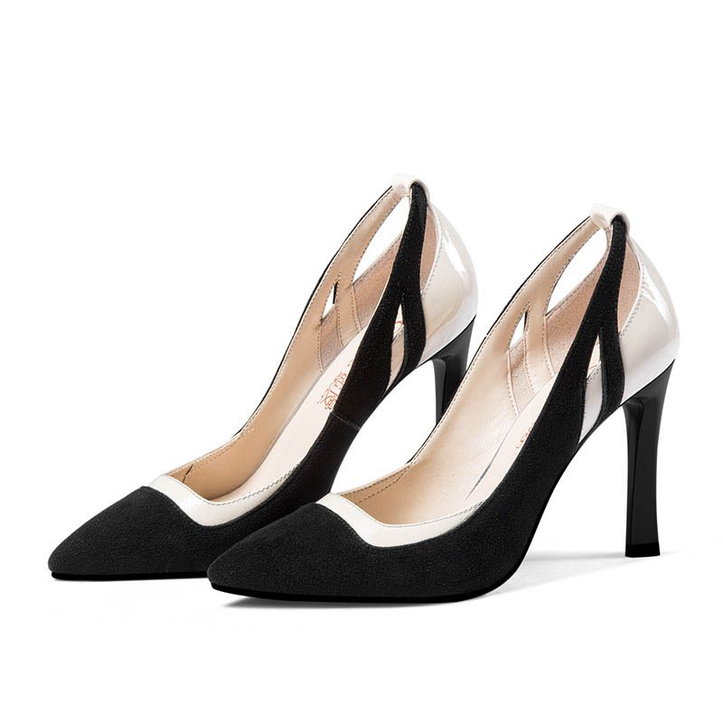 Chic / Beautiful Black Office Pumps 2017 Outdoor / Garden Leather Suede High Heel Pointed Toe Pumps