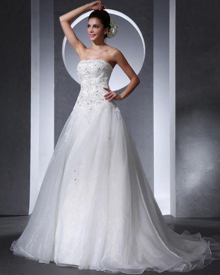 Beautiful Applique Beading Strapless Floor Length Court Train Organza A Line Wedding Dress