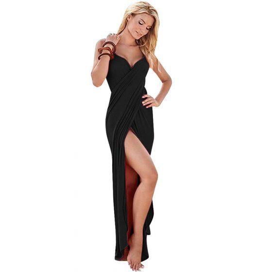 Modest / Simple Black Beach Maxi Dresses 2018 Sleeveless Backless Floor-Length / Long Womens Clothing